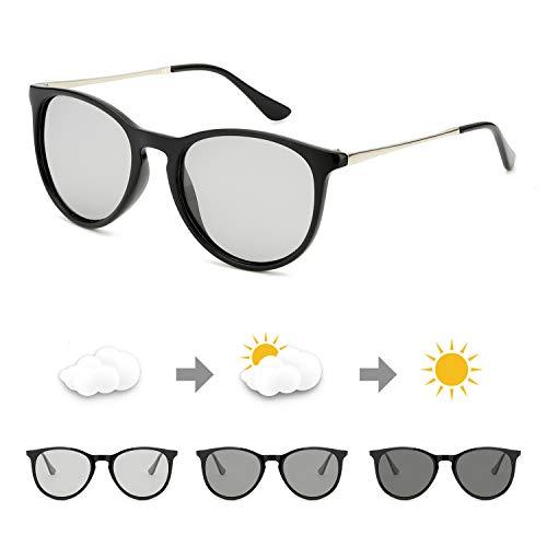 TosGad Sonnenbrille Photochromatisch Polarisiert Selbsttönend Brille Anti Reflexbeschichtung für Autofahren Laufen Radfahren 100% UVA UVB Schutz Hoch (Schwarz/Grau Photochromatisch C1)