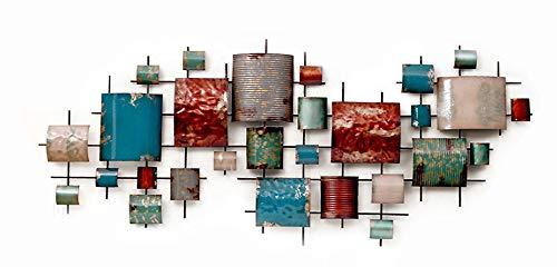 GoedYE® décoration Murale en métal | Image 3D métal XXL à la Main | Soulagement de Mur de Photo en métal de Luxe | Peinture métallique 3D | Fresque Moderne | géométrique