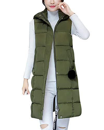 Chaleco De Mujer Sección Larga De Pluma Sin Mangas Chaquetas De Plumón Verde del ejército M