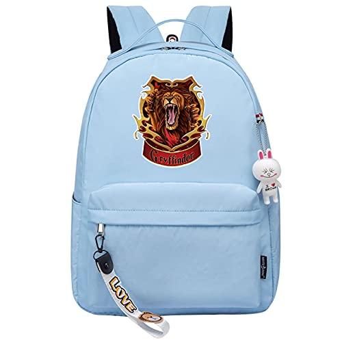 MMZ Mochila escolar para niñas de moda Mochila escolar para niños Mochila informal para damas, estampado con estampado de león (azul)