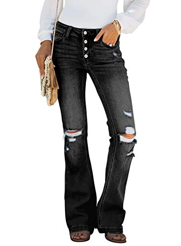 Sidefeel Women Button Up Bell Bottom Jeans Ripped Flare Fitted Denim Pants Small Black