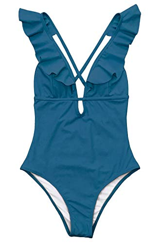 CUPSHE Women's Falbala One Piece Swimsuit Deep V Neck Monokini Swimsuit, S