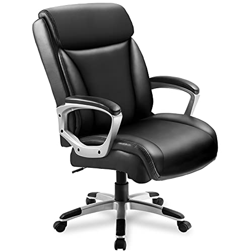 ComHoma Office Executive Chair High Back Comfortable Ergonomic Managerial Chair Adjustable Home Office Desk Chair Swivel Black