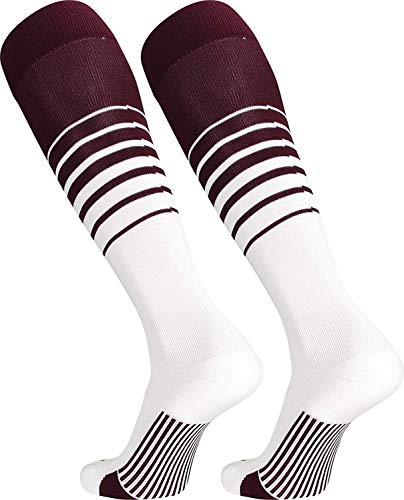 TCK Sports Elite Breaker Soccer Socks (Maroon/White, Large)