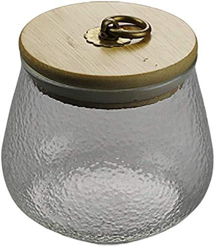 Recipientes Hermeticos Alimentos Tarro de almacenamiento de vidrio con tapa de bambú Alto Borosilicate Frascos de vidrio hermético Anillo de sellado ASARCAMENTO PARA EL TEA CAFÉ HERB HERB ESPECIAS AZÚ
