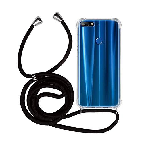 MyGadget Handykette für Huawei Y7 2018 TPU Hülle mit Handyband zum Umhängen - Handyhülle mit Band Halskette Kordel Schnur Hülle Schutzhülle - Schwarz