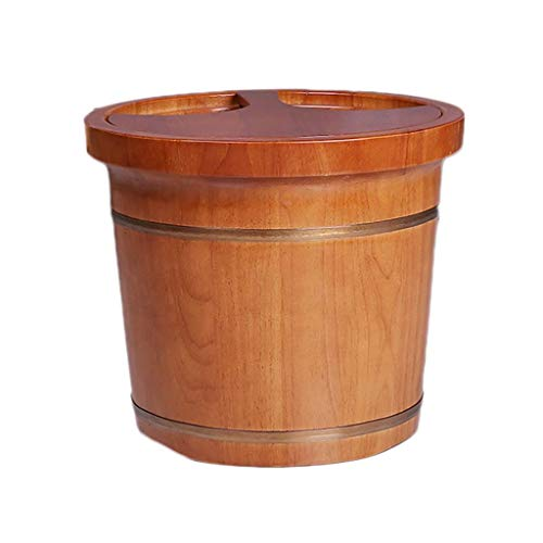 Foot Tub, Adult Oak with Lid Foot Bath Barrel Removable Household Wash Basin Handmade, 2 Styles, 39x35x31cm (A),Foot Massagers