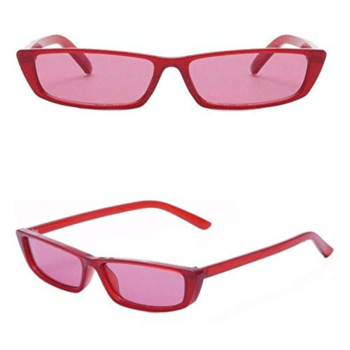 NJJX Gafas De Sol Rectangulares Vintage Para Mujer, Gafas Ajustadas Retro, Gafas De Sol Con Montura Pequeña, Gafas Negras Retro, Gafas Estrechas, Tonos Rojos