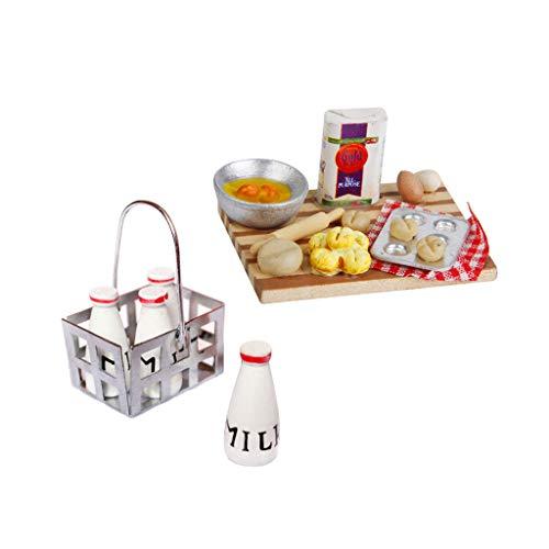 lahomia 1/12 Cesta de Leche para Casa de Muñecas con 4 Botellas de Madera Y Huevos de Pan