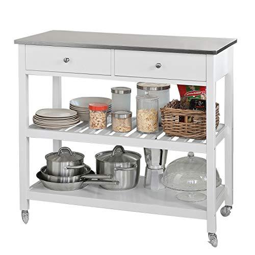SoBuy® FKW47-W Küchenwagen mit Edelstahlplatte Flurschrank Sideboard Beistelltisch mit 2 Schubladen und 2 Ablagen 100x45x92cm