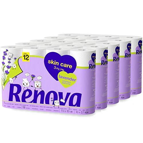 RENOVA Papel Higiénico Skin Care Lavanda, 60 Rollos De 3 Capas, Perfume Lavanda, Suave, color Blanco
