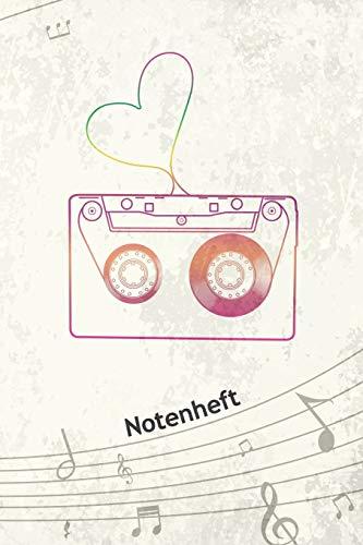 NOTENHEFT: A5 Musik Notenblock für Musiker Komponisten - 120 Seiten Notenlinien Blanko Notenpapier - für Musikinstrumente Instrumente - Sample Mixtape für Kinder der 90er - Hiphop Matte Cover