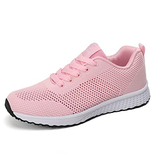 LXLOVESM Zapatos de mujer para caminar, de moda, sin cordones, para correr, casual, atlético, ligero, transpirable, para el trabajo, Rosa/Rebel Fun., 37.5 EU