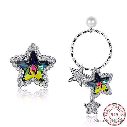 Voor dames Fijne kristallen van echt 925 zilver opknoping piercing