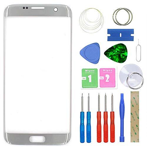 MovTEK Schermo Vetro di Ricambio Originale per Samsung Galaxy S7 Edge SM-G935F G935FD 5.5' Display Sostituzione con Kit Attrezzi - Argento
