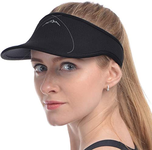 Black Sun Visors for Women and Men, Long Brim Thicker Sweatband Adjustable Hat for Golf Cycling Fishing...
