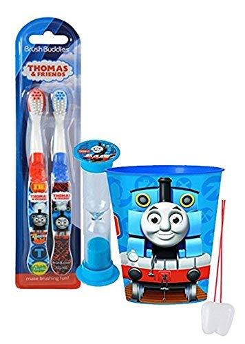 Thomas & Friends - Set di 4 spazzolini da denti manuali morbidi, con scritta 'Thomas The Train' (lingua italiana non garantita)