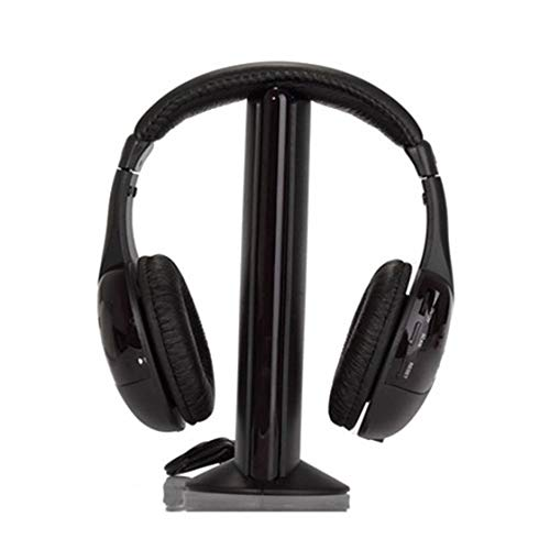 Kirmax Auriculares de Diadema inalambricos para HDTV, TV, VCD, PC, MP3, MP4, CD y DVD (5 en 1, Hi-Fi, con Radio FM), Color Negro