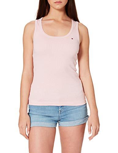 Tommy Hilfiger Damen Slim Vertical STP Tank TOP Hemd, PINK, XL