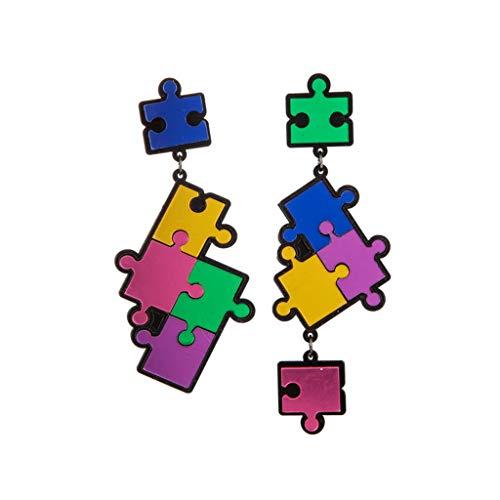 Trend Cute Girls Pendientes Exagerados Simple Dibujos Animados Puzzle Colgante Pendientes Regalo