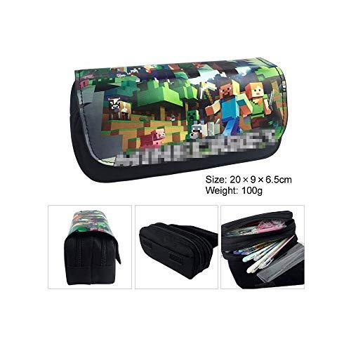 Federmäppchen für Junge - Mäppchen mit Fach Schlamperbox mit 2 Reißverschlüssen und Klettverschluss, Schulmäppchen für Schreibwaren - Mäppchen für Schule (05)
