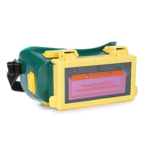 Mufly - Gafas de seguridad para soldar con lentes interiores transparentes automáticas fotoeléctricas con diadema ajustable