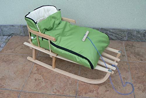 Holzschlitten mit Rückenlehne mit Winterfußsack 90cm 10 Farben Schlitten aus Holz (Grün)