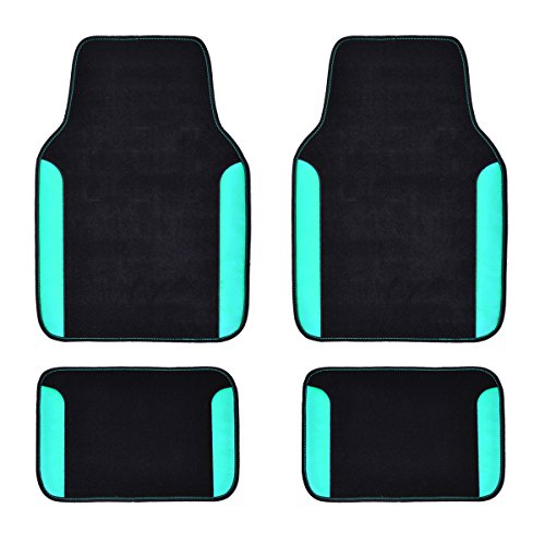 CAR PASS Rainbow Waterproof Universal Fit Car Floor Mats, Fit for SUV,Vans,sedans, Trucks,Set of 4(Black with Mint)