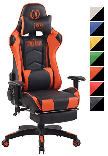 CLP Chefsessel Turbo XFM Kunstleder mit Massagefunktion l Höhenverstellbarer Bürostuhl mit ausziehbarer Fußablage und beheizbarem Sitzbereich schwarz/orange