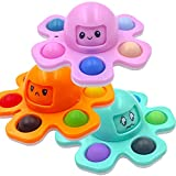 3 Pack Octopus Relief Keychain Fidget Toy, Flip Octopus Push Pop Bubble Fidget Popper Squeeze Sensory Toy, Stress Relief Face Changing Sensory Pop Fidget Toy for Kids and Adults