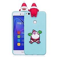 ケース Huawei P8 Lite、シリコン ソフトフレーム tpu サボテン カバー、薄型 かわいい 3D 漫画 クリスマス 新しい ケース、ユニーク 人気 耐衝撃 弾性 軽量 薄型 衝撃吸収 全面保護カバー, 面白いユニークなラッキーギフト、子供、女の子、婦人のための,by Beautycatcher - 浅青+サンタクロース