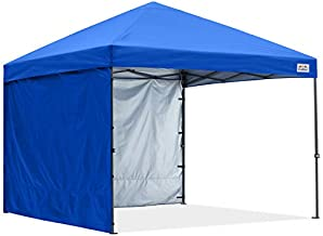 COOSHADE Pop Up Canopy Tent 8x8Ft Outdoor Festival Tailgate Event Vendor Craft Show Canopy with 2 Removable Sunwalls Instant Sun Protection Shelter with Wheeled Carry Bag(Royal Blue)