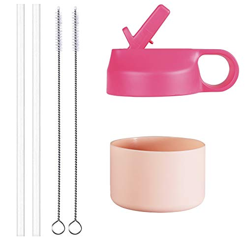 The Mass Straw Lid and Boot for Hydro Flask Wide Mouth 12oz - 20oz and Other Branded Insulated Wide Mouth 12oz - 24oz Bottle (Kids Watermelon Lid & Baby Pink Boot, with 12-24 oz Boot)