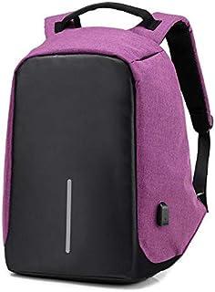 محايدة السفر حقيبة الظهر الكتف وحقيبة الكمبيوتر المحمول شاحن USB حقائب المدرسة في الهواء الطلق بسعة كبيرة - أرجواني
