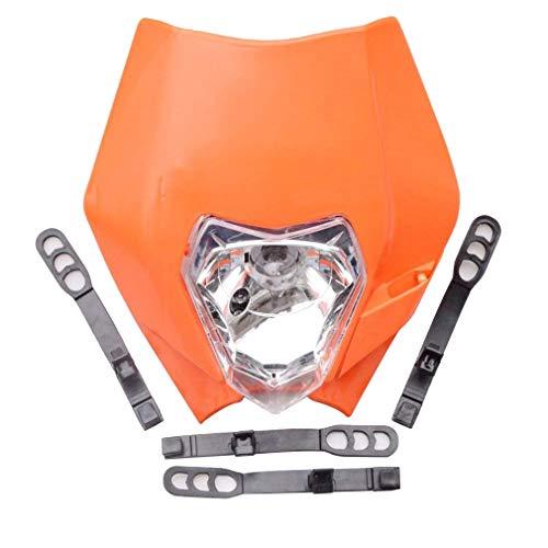 GOOFIT Orange 12V 35W Scheinwerfer Frontscheinwerfer Lichtmaske mit Front Verkleidung für Motorrad Dirtbike Pocketbike Motocross Supermoto Supermoto Schwarz dit Pocketbike