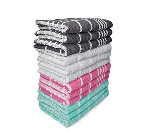 Exotic Cotton Paños de Cocina de Rizo Jacquard 100% Algodón - Juego de 12 Trapos de Cocina 100% Absorbentes - Toallas de Cocina de Cuadros 50 cm x 50 cm 4 Colores Diferentes - Verde, Gris, Negro, Rosa