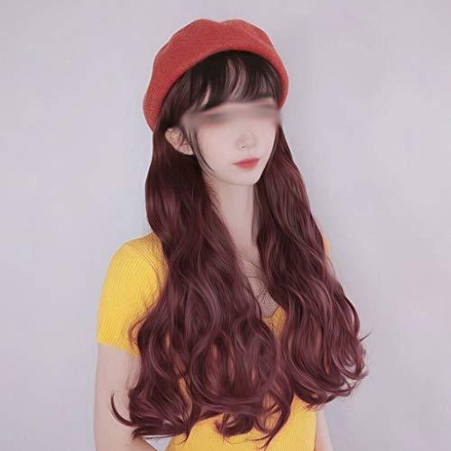 WYBFZTT-188 Pelucas onduladas largas sintéticas con boina sombrero moda nueva otoño invierno tapa peluca de pelo extensiones de cabello (Color : Dark brown)