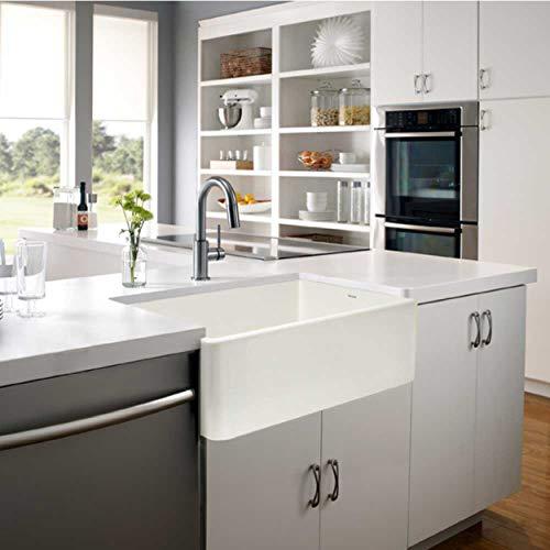 """Houzer PTG-4300 BQ Apron-Front Fireclay Single Bowl Kitchen Sink, 33"""", Biscuit"""