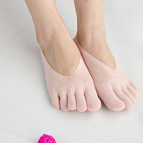 5Pairs Toe Compression Socks Women, Women Toe Socks No Show Full Five Finger Socks Low Cut Liner Sock, Liner Hidden Invisible Socks for Flats Boat Sneaker-Roze
