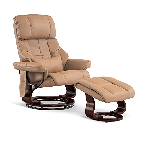 Mcombo Recliner with Ottoman Reclining Chair with Vibration Massage and Lumbar Pillow, 360 Degree Swivel Wood Base, Faux Leather 9068 (Cognac)