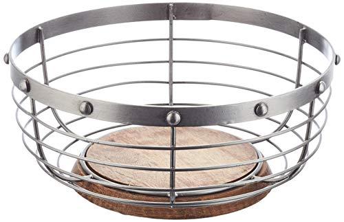 KitchenCraft Industrial Kitchen Vintage-Style Metal/ Wooden Fruit Bowl, Grey, 28 x 28 x 12 cm