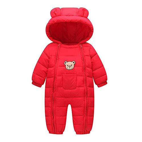Schneeanzug Baby Kleidung Schnee Tragen Baumwolle Gepolstert Ein Stück Warme Oberbekleidung Overall Strampler Kinder Winter Overall Neugeborenen Parkas 3-12 Monate,Red,100Cm