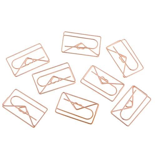 8pcs Pinza de Papel Forma de sobre Marcan Clips Metal Clips de Papel en Forma Gato de Etiquetas, Separadores y Sellos