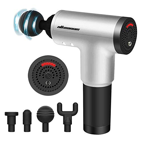 Massage Gun for Athletes, Massagers Handheld Deep Tissue Percussion Muscle Massager for Sore Muscle and Stiffness, Portable Quiet Brushless Motor, Includes 4 Massage Heads (Silver)