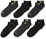 adidas Youth Kids-Boy's/Girl's Superlite Low Cut Socks (6-Pair), Black - Onix Space Dye/Solar Yellow Black - Night Grey, Large, (Shoe Size 3Y-9)