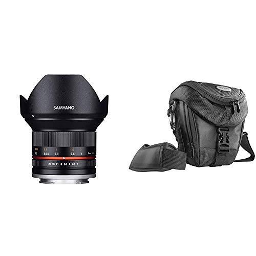 Samyang 12mm F2.0 Objektiv für Anschluss Sony E - schwarz + Mantona Colt DSLR Kamera Tasche für Spiegelreflex, SLR, Kompaktkamera, Systemkamera, wasserdicht, schwarz