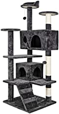 53 Inches Multi-Level Cat Tree Stand House Furniture Kittens Activity Tower with Scratching Posts Kitty Pet Play House (Grey)