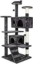 Nova Microdermabrasion 53 Inches Multi-Level Cat Tree Stand House Furniture Kittens Activity Tower with Scratching Posts Kitty Pet Play House (Grey)
