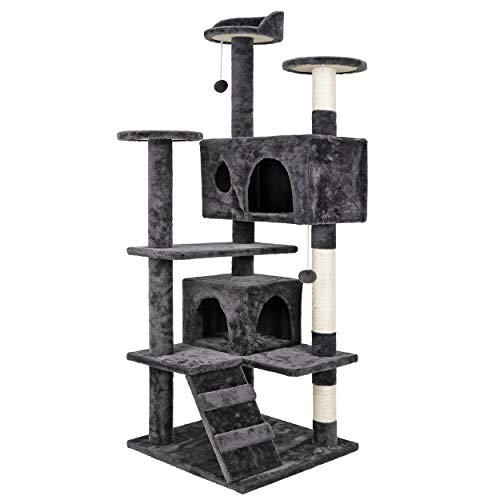 ZENY 53'' Cat Tree with Sisal-Covered Scratching Posts and 2 Plush Rooms Cat Furniture for...