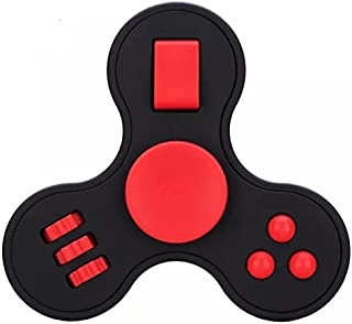 Multifunction Fidget Spinner with Buttons on it Like Fidget Cube, [ Joystick Buttons ] Stress Reducer - Perfect for ADD, ADHD, Anxiety, and Autism & Spinner Helps Focusing (Black/RED)